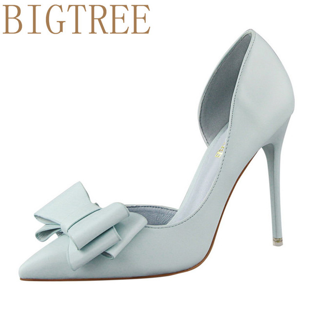 a31cb9542e01 BIGTREE Spring Summer Women Pumps Sweet Bow knot High-heeled Shoes Thin Pink  High Heel