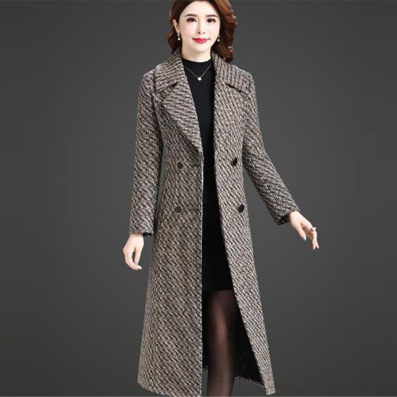 De Nouveau Manteau Mode Et Long Europe D'hiver Qualité Color Photo En Laine Haute Taille Grand Automne Femmes Plaid Amérique Veste 2018 qwtX4nxIx