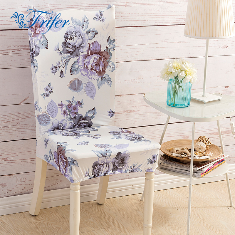 4pcs Big Flower Print Elastic Dining Chair Covers Spandex