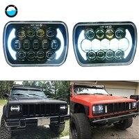 pair 5x7 Inch Rectangular Sealed Beam 7x6 inch 105W LED Headlight for 1986 1995 Jeep Wrangler YJ 1984 2001 Jeep Cherokee XJ.