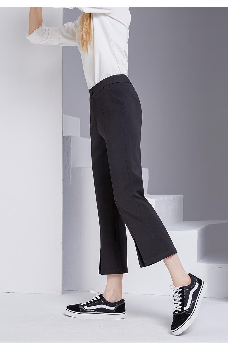 bootyjeans spring 2018 new European high-end women's slim black all-match split ankle length pants casual bottom pants 39
