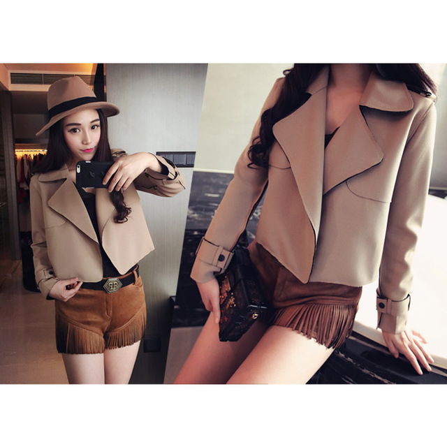 2015 Autumn New Europe all match composite Lapel short coat jacket ...