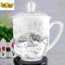 Freies verschiffen Keramik-tasse, Jingdezhen bone china tasse mit deckel, Büro individuelle Handgemalte tasse