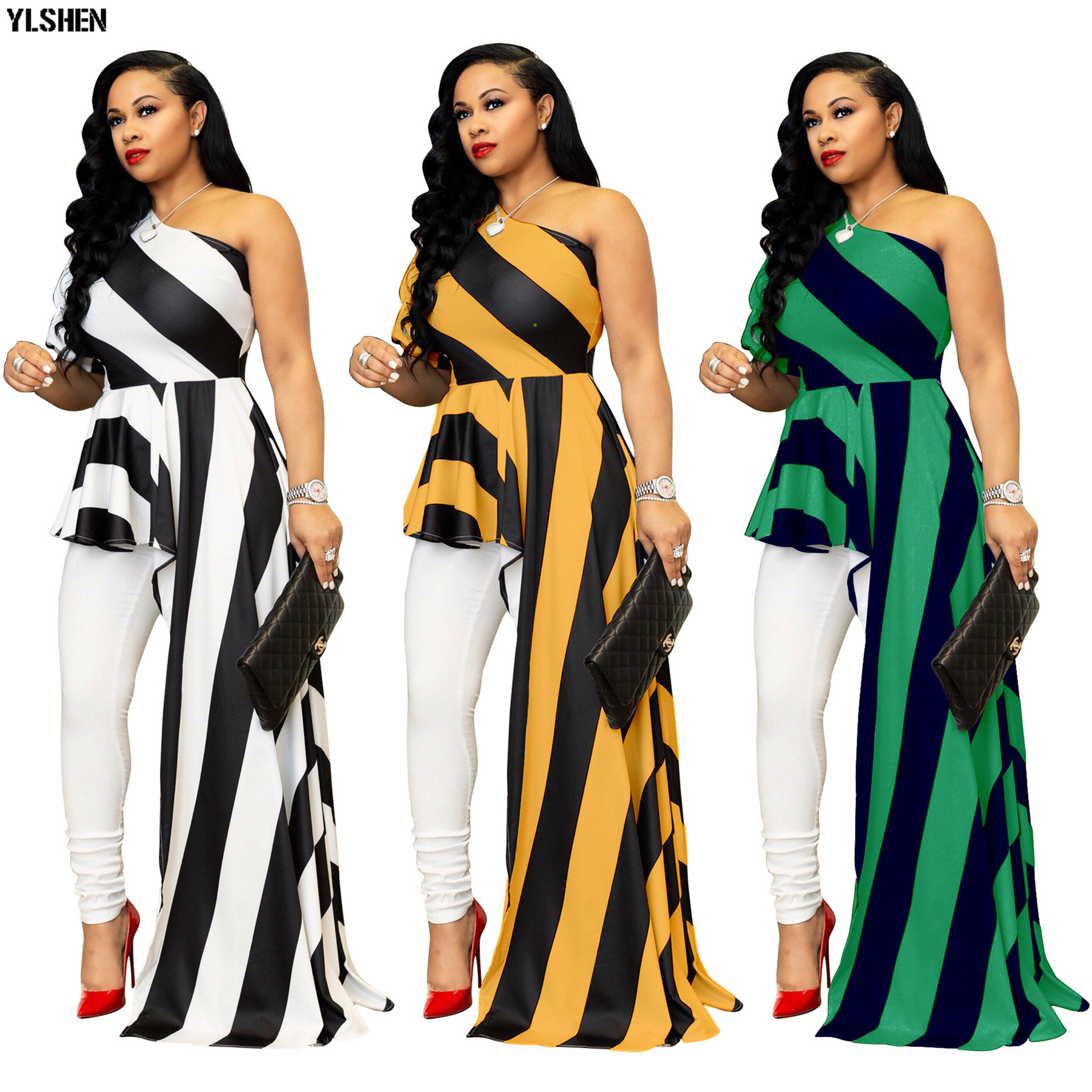 Plus Size African Dresses For Women Dashiki Stripe African Clothes Bazin Rich Sexy One Shoulder Evening Long Ankara Africa Dress