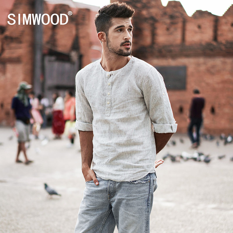 SIMWOOD 2018 New Spring Summer Casual Collarless Shirts Men Linen Three Quarter Sleeve Striped Slim Fit Shirt Male CC017036