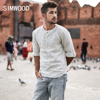SIMWOOD 2018 New Spring Summer Casual Collarless Shirts Men Linen Three Quarter Sleeve Striped Slim Fit