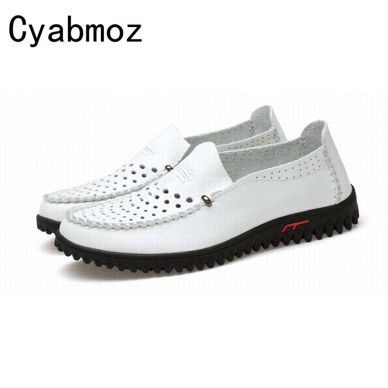 Men Loafers Casual Boat Shoes Fashion Soft Genuine Leather Slip On Driving Shoes Moccasins Hollow Cut Outs Flats zapatos hombre fashion nature leather men casual shoes light breathable flats shoes slip on walking driving loafers zapatos hombre