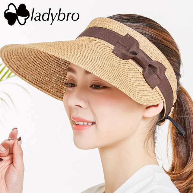 Ladybro Summer Women Hat Wide Brim Bow Sun Hat For Beach Outdoor Straw Hat  Female Visor Cap Femme Travel Cap Chapeu Feminino 9b96ee8e191