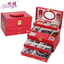 Quick shipping low price high quality 4 layers leather jewelry box with large space jewlel casket  for gift