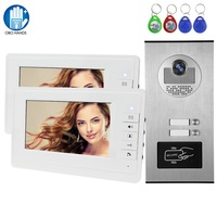 Wired 7 RFID Video Intercom Video Doorbell Camera with 2 / 3 / 4 Monitors Color Video Doorphone for Home Multi Apartments 5 Key