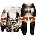 Harajuku top fashion 3D tracksuits print skulls bones sweat suits sweat shirts + pants 2 piece set for men/women sweatshirt