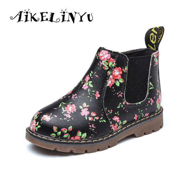 2018 Autumn Retro Girl Boot Children Shoes Boys Printed Leather shoes Kids Martin Young Platform Students Solid Anti Skid Boot