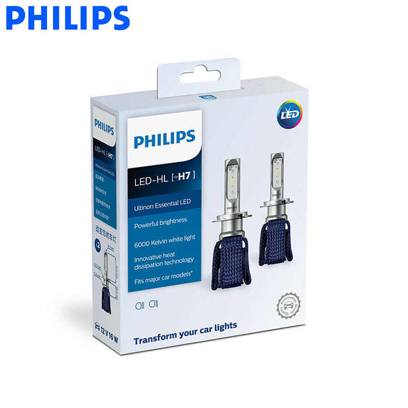 Philips LED H4 H7 H8 H11 H16 9005 9006 9012 HB3 HB4 H1R2 Ultinon Essential LED Car 6000K White Light Auto Headlight Fog Lamps 2X