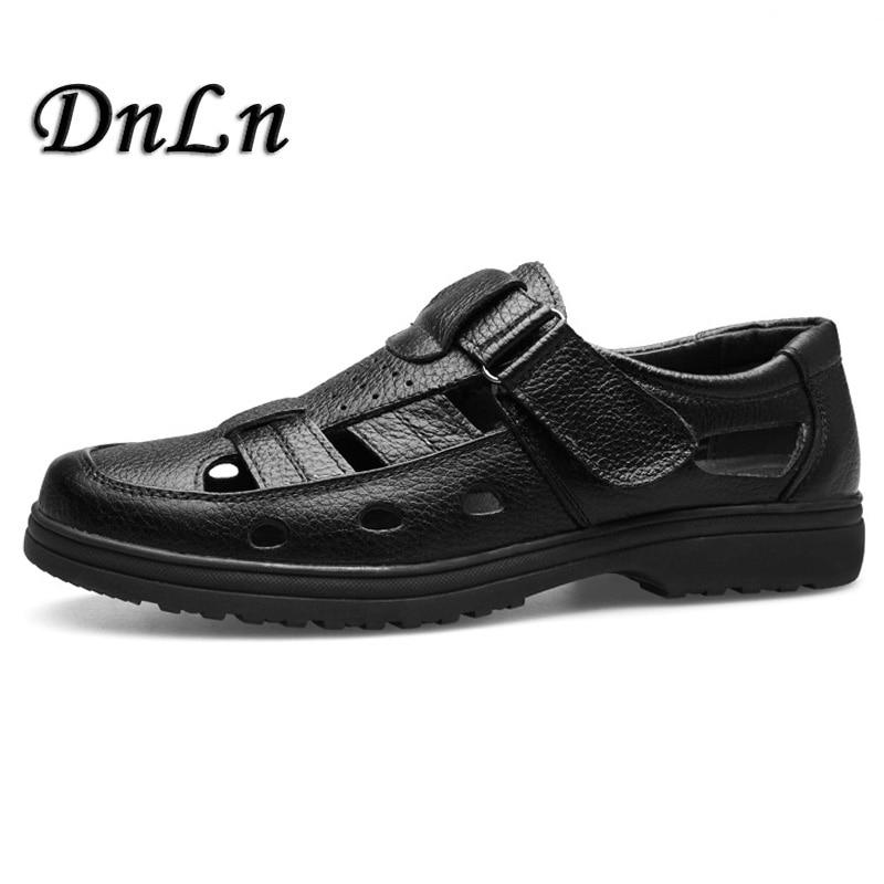 97032570531e MIUBU Summer Sandals Men Closed Toe Fashion Beach Men Sandals Flexional  Suede Leather Shoes Beach Shoes ...
