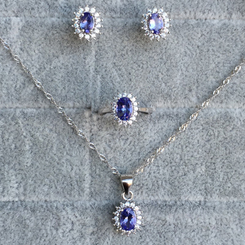 Luxurious top quality jewelry sets made by 925 Solid Sterling Silver and 100% natural Excellent tanzanite wedding jewelry sets