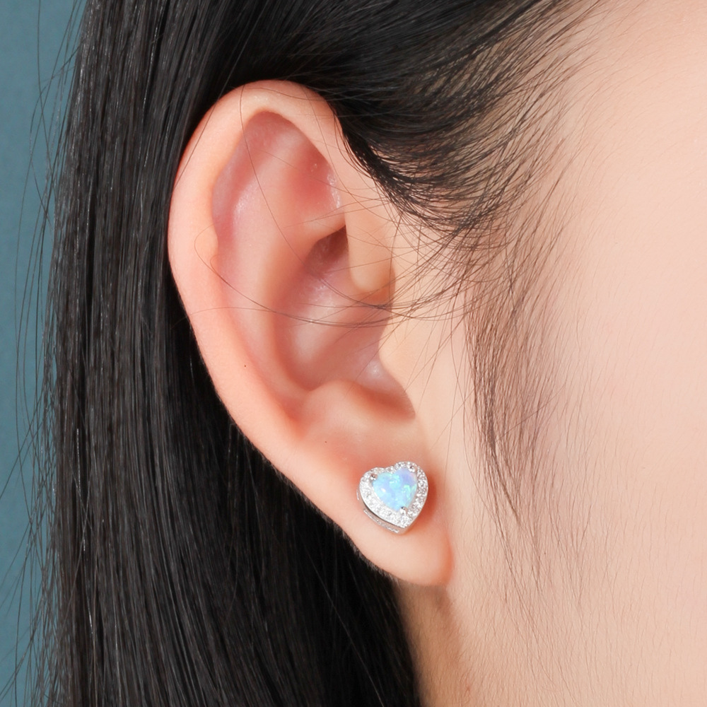 Hot new high quality S925 silver earrings heart shaped zircon earrings for fashion women wear and