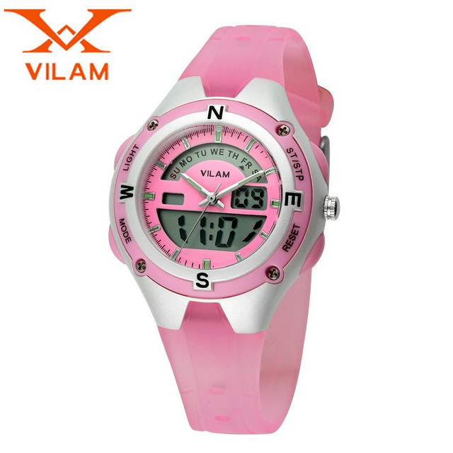 VILAM 2017 Casual Children Week/Day Quartz Watches Kol Aaati Rubber Safe PC Plastic Silicone Wristwatch Clock Gift Free Ship