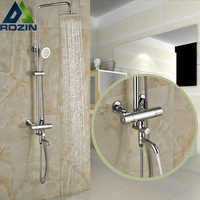 Wall Mount 3 Functions Bath Shower Thermostatic Mixer Faucet Dual Handle Constant Temperature 8 Rain Taps