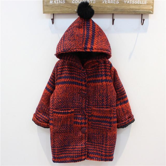 Fashion Girl wool Long Striped coat Ourterwear for girls Red Coats ropa de ninas outerwear manteau hiver fille giacca lana