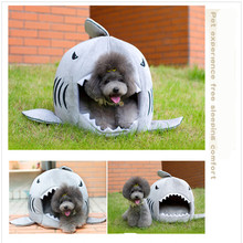Cute Shark Mouth Pet Dog Cat Bed Removable And Washable Products for Animals Kennel