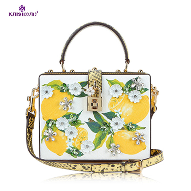 Luxury Italy Brand Famous Designer Handbag Fruit Lemon Print Bag Genuine Cow Leather Ladies Diamond Tote Shoulder Bag Sac A Main joyir fashion genuine leather women handbag luxury famous brands shoulder bag tote bag ladies bolsas femininas sac a main 2017