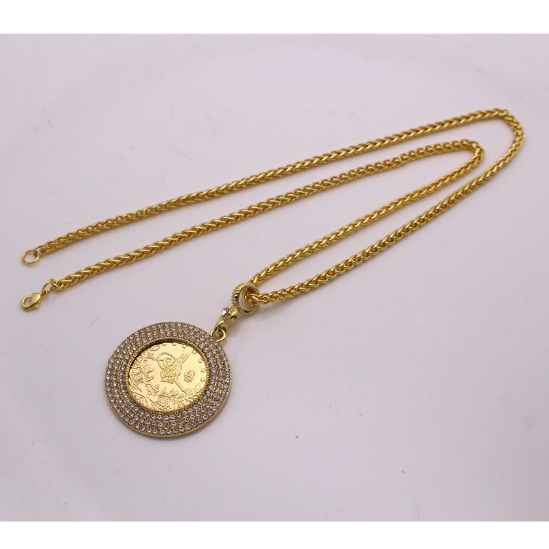 ZKD islam muslim Ottoman Turkish coins jewelry Arab Coin Gold Color Turkey Coins crystal Pendant Necklace