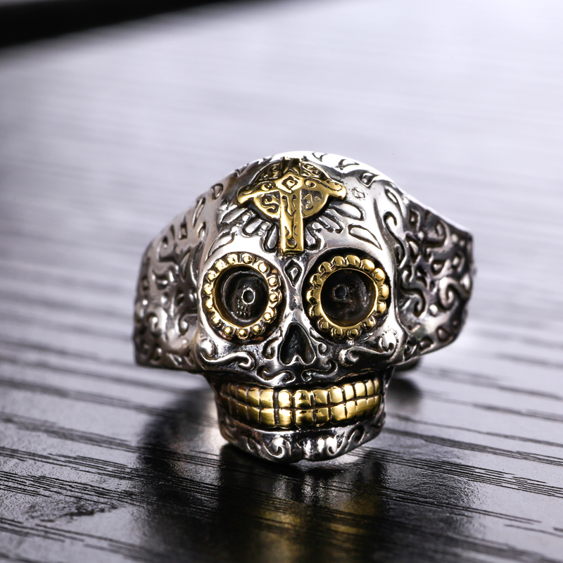 S925 Silver Skull opening ring finger ring Metrosexual single domineering personality retro punk accessories s925 sterling silver skull ring metrosexual officers personality of world war ii punk man retro silver ring opening