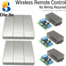 86 Wall Panel Bulb Wireless Switch Remote Control AC 85V~250V 3 Gang for LED/ Lamp/ Bulb/ Door/ Pump No wiring required