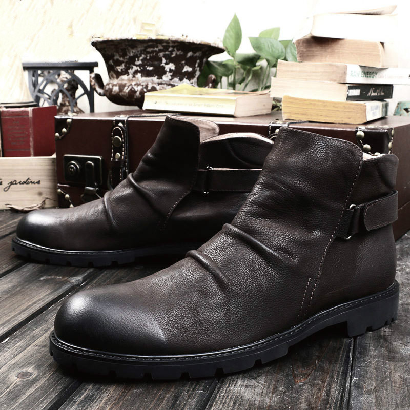 New Mens Casual Leather Ankle Boots Retro Leather Fashion Leather Boots Sleeve Denim Tooling BootsNew Mens Casual Leather Ankle Boots Retro Leather Fashion Leather Boots Sleeve Denim Tooling Boots
