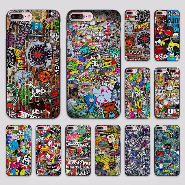 Hot sale sticker bomb design hard black case cover for apple iphone 7 6 6s plus