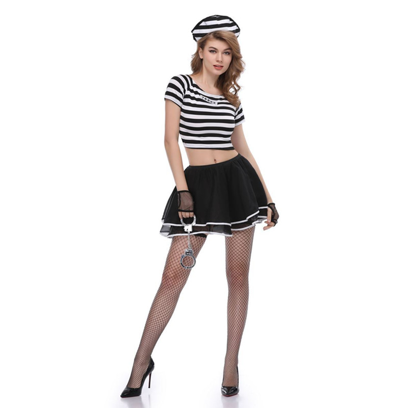 halloween women girls sexy drisoners cosplay costume dress with handcuffs rave party prison dress in movie tv costumes from novelty special use on