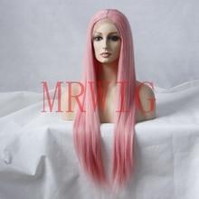 MRWIG желтый/розовый длинные прямые синтетические бесклеевые передние парики 26 дюймов настоящие волосы для женщин могут нагревать расчески и ремни США