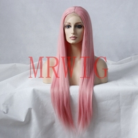 MRWIG Yellow/&Pink Long Straight Synthetic Gluelesss Front Wig 26inch Real Hair for Woman Can Heat Combs&Straps Freeshipping US