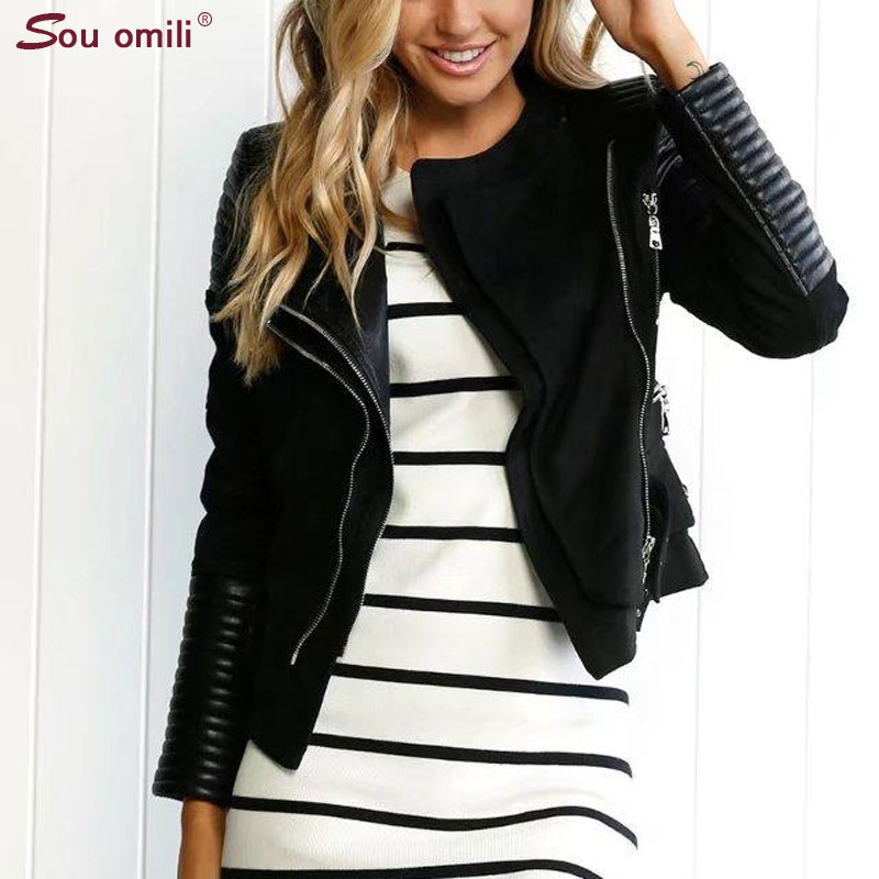 producto caliente como escoger el precio se mantiene estable € 33.47 38% de DESCUENTO|Chaqueta de gamuza de cuero de imitación empalmada  para mujer chaqueta de Moto negra chaqueta de gamuza de Camel Punk-in ...