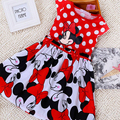 Free shipping 2016 New summer dress Minnie Mouse Dress girls clothes printing polka dot sleeveless dress girl fashion red dress
