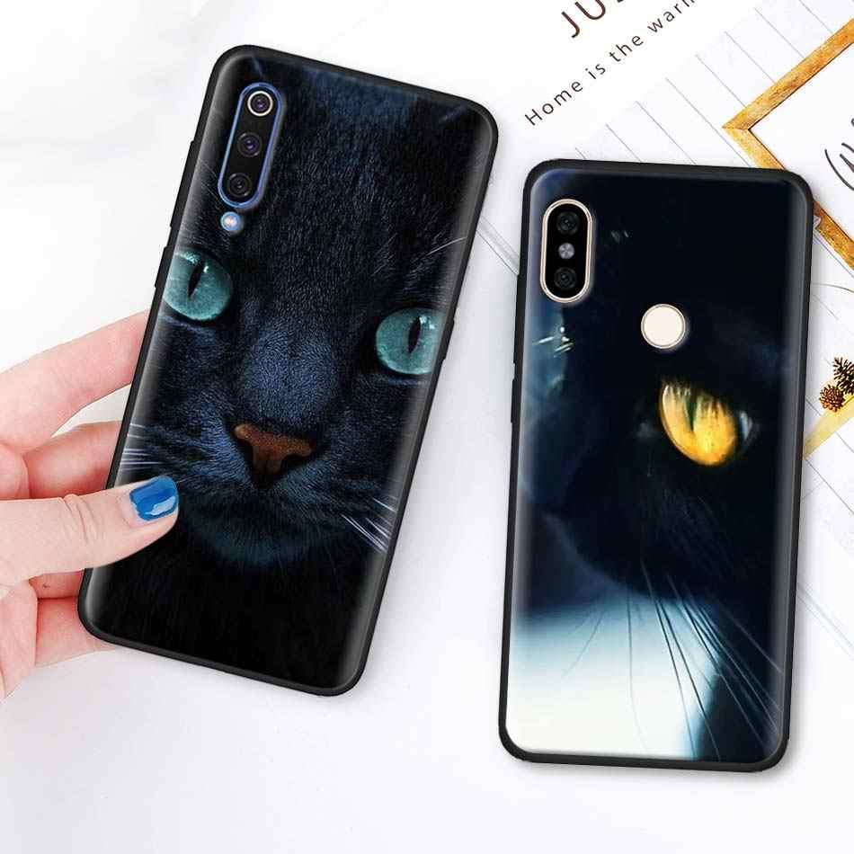 Mignon chat noir yeux fixants TPU doux couvercle de boitier en silicone pour Xiaomi Redmi 7 6 5 Note 7 5 6 Pro 4X 5A 6A S2 GO Poco F1 noir étui