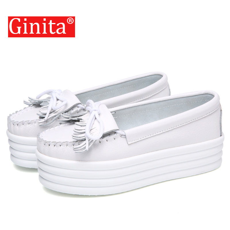 Ginita 2019 New Flats Platform Shoes For Women Genuine   Leather   Fringe Tassel Height Increasing Ladies Female Casual White Shoes