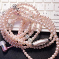 Fasnion Earphone Ear 3.5mm Pearl Necklace Stereo Headset with microphone Suitable For iPhone Samsung xiaomi HTC