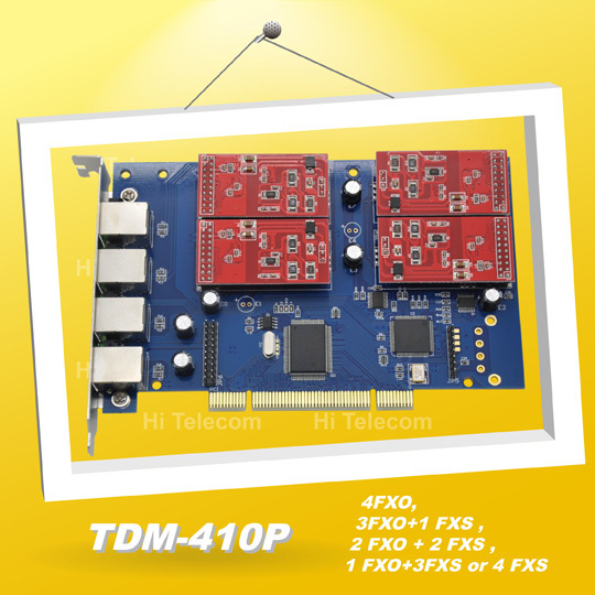 Free shipping NEW  TDM410P 4 Port Asterisk FXO PCI Card Support Asterisk Trixbox Elastix