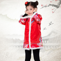 Chinese traditional dress Tang Suit ancient style Kids Printing cotton clothes girl cheongsam top for Chinese new year party