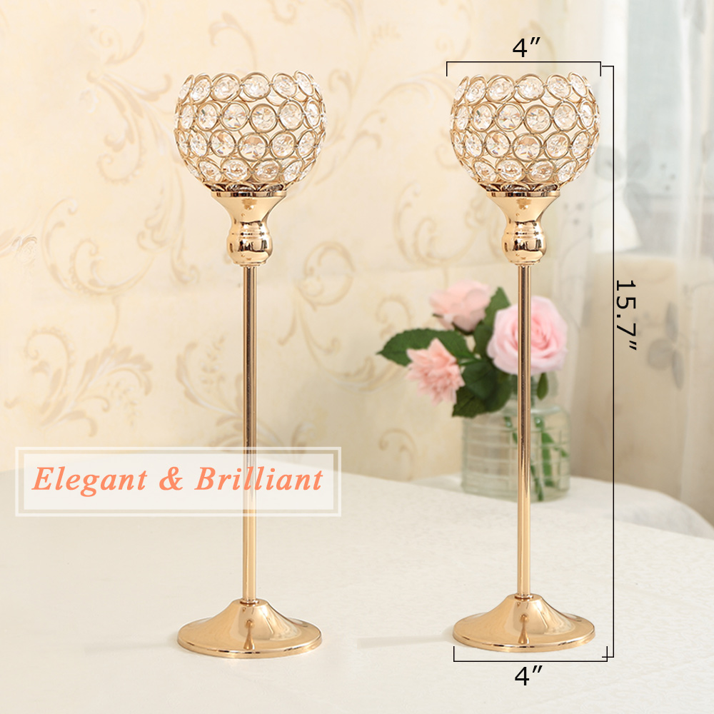 Gold/Silver Crystal Candle Holders Candlestick Stand for Home Party ...