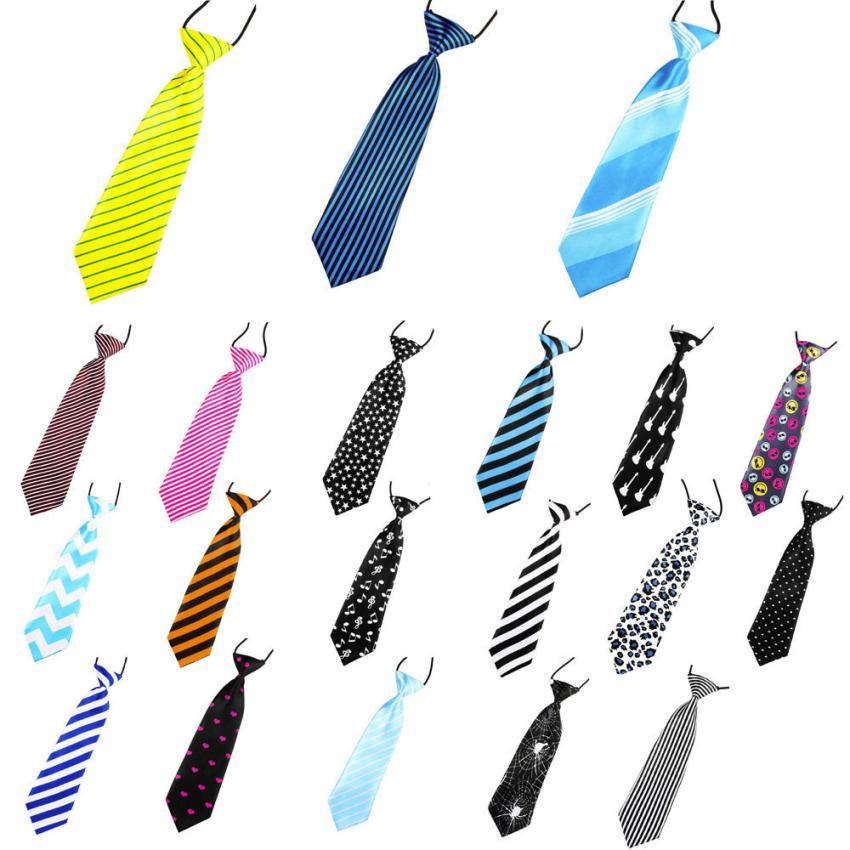 New School Boys Kids Children Baby Wedding Print Striped Colour Tie Necktie Children Necktie Clip Girls Neck Ties Dropshopper