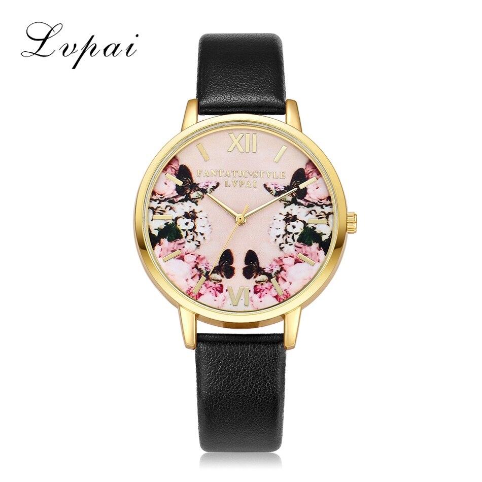 1dacf7970 Lvpai العلامة التجارية جلد النساء اللباس الساعات الكوارتز ووتش سوار ووتش  السيدات أزياء النساء الإناث الأزياء عارضة ساعة ساعة اليد