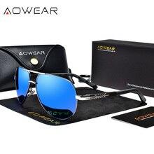 Aowear óculos de sol masculino polarizado, óculos de sol masculino polarizado em alumínio espelhado, acessório de aviação
