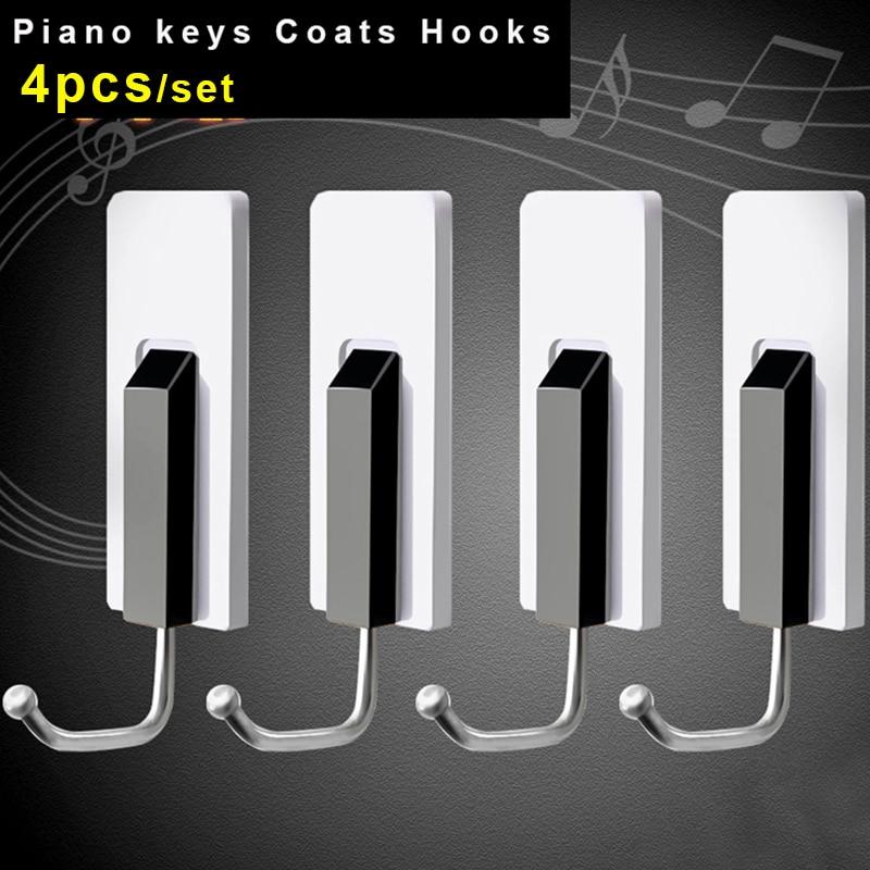 Piano keys hooks for Hanging coats kitchen shelf organizer storage rack bathroom towel clothes key holder wall hooks decorative
