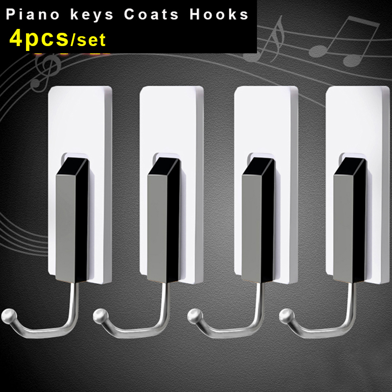 Piano keys hooks for Hanging coats kitchen shelf organizer storage rack bathroom towel clothes key holder wall hooks decorative
