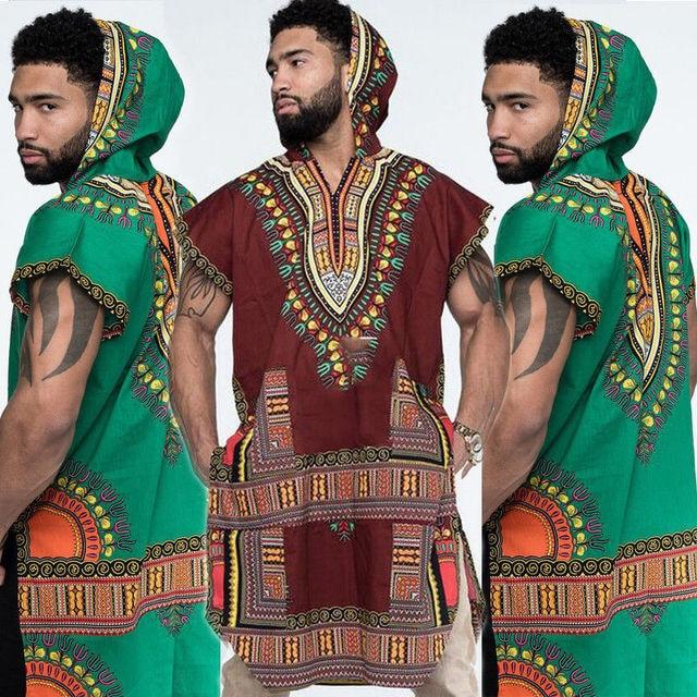 cd6623ae8d7 2018 New Style African Men T-Shirt Hipster Hip Hop Dashiki Crew Neck  Elongated Longline