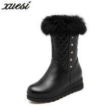 Xuesi Plus Size 34 43 Women Winter Boots New Keep Warm Snow Boots Round Toe Pu