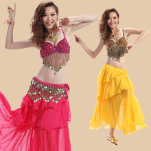 3pcs/set professional Belly dance costume set  Indian dancing wear top bra belt skirt