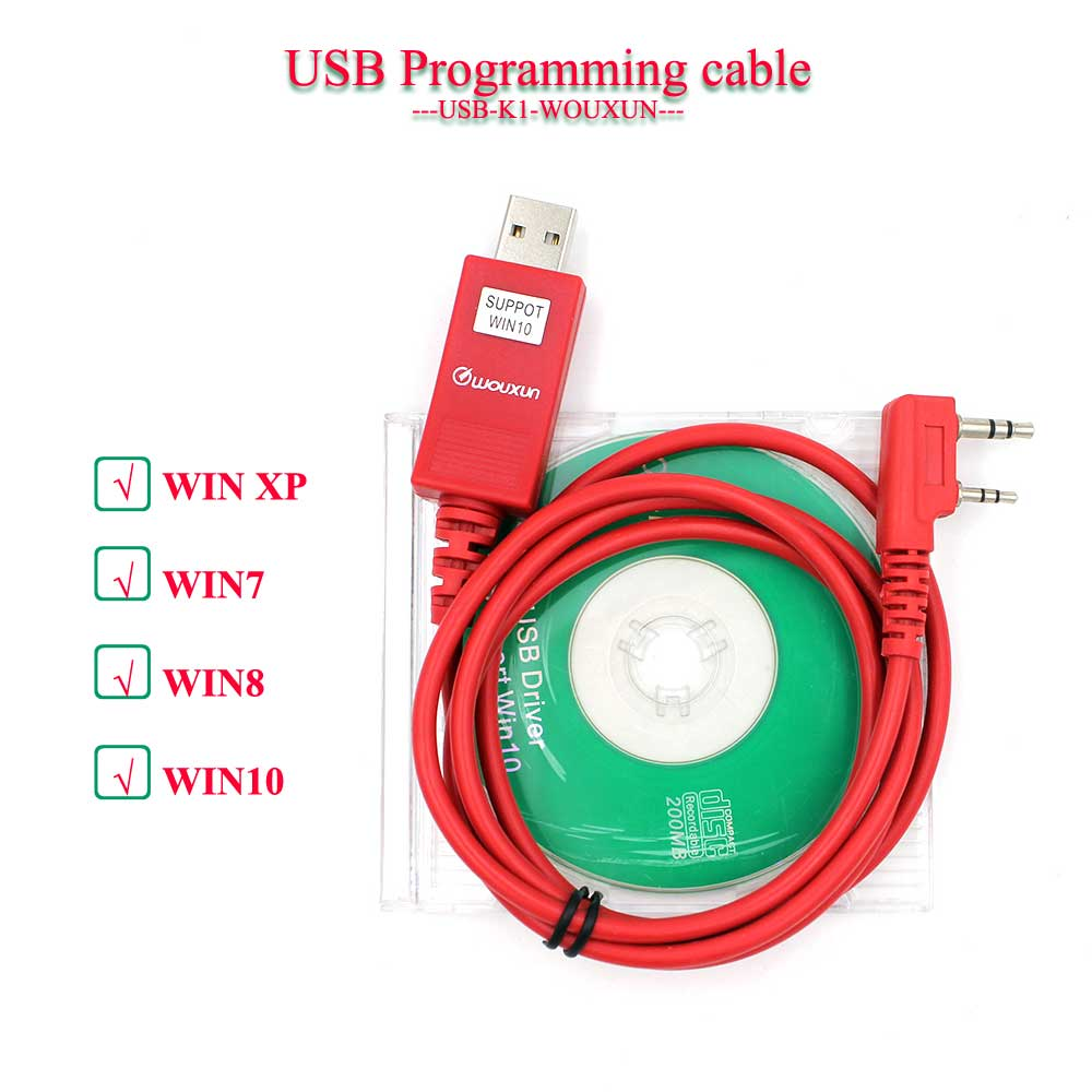 Original WOUXUN Programming Cable For KG-UVD1P KG-UV6D KG-UV8D KG-UV899 KG-UV9D PLUS USB Cable For All Radios With K1 Plug